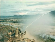 Soldiers fire rounds from their self-propelled anti-aircraft gun, probably an Duster. The anti-aircraft weapons were not only valuable against planes. They could be turned against enemy personnel or against jungle areas that communist forces were usin We Are The Mighty, Mountainous Terrain, Vietnam War Photos, Staff Sergeant, Military Personnel, Military Vehicles, South Vietnam, Us Marine Corps, Army Soldier