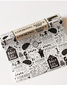 Cartoon Food Word Text Grease-Resistant Food-Safe Wrap Paper - Black