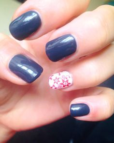 CND Shellac Indigo Frock and Cream Puff with Konad stamping.