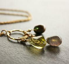 Lemon Topaz Freshwater Pearl Gold Flash Labradorite Gold by Woojoo, $60.00