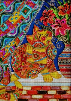 Needlepoint canvas 'Cat on the window sill' by Irina Vasileva