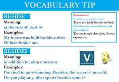 Vocabulary tip 4: Beside, Besides