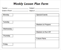 This Weekly Lesson Plan Template Is Appropriate For Primary Grades