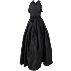 1990s Oscar de la Renta black silk halter neck gown | From a collection of rare vintage evening dresses at http://www.1stdibs.com/fashion/clothing/evening-dresses/