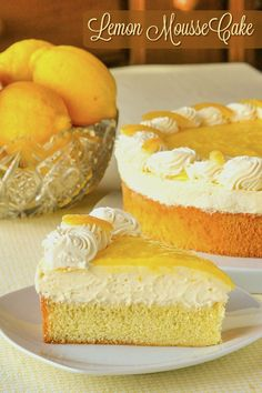 An easy version of lemon mousse comprised of lemon curd and whipped cream sits atop a light-as-air sponge cake and is then topped with more lemon curd, whipped cream and candied lemon peel. Spring Desserts, Lemon Desserts, Dessert Recipes, Lemon Cakes, Lemon Recipes, Delicious Desserts, Cake Recipes, Lemon Mousse Cake, Candied Lemon Peel