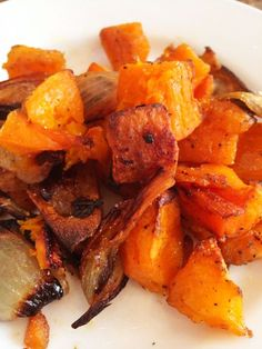 Roasted Butternut Squash and Shallots-Lisa Robertson. Combine:  5 Shallots quartered lengthwise, 2 cups of diced Butternut Squash, 1 tablespoon of brown sugar,  2 1/2 tablespoons of olive oil, 1 teaspoon salt, 1/2 teaspoon black pepper. Mix it all up!  I put it in the oven at 475°. The recommendation was 20 minutes, but I did it for 40.