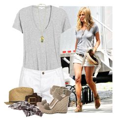 """Jennifer Aniston!"" by verabrasil-polyvore ❤ liked on Polyvore featuring James Perse, AllSaints, Indy C, Stuart Weitzman, Forever 21, sandals, scarfs, hats, t-shirts and belts"