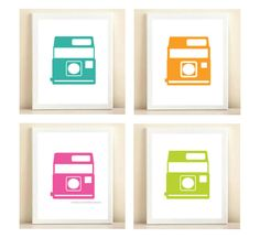 Set of four 8×10 prints featuring original, and colorful, Polaroid illustration. This set comes with aqua, orange, neon pink, and neon green.