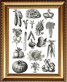 Küchenposter im Vintage Stil, Design Poster, Gemüse Poster, Wandbild Gemüse, Vintage Poster, Retro Poster