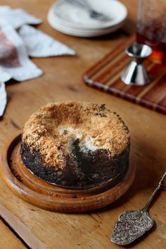 Flourless Chocolate Honey Cake with Toasted Coconut & Wigle Whiskey's Mole Bitters
