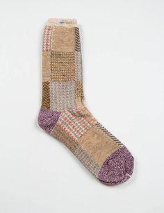 Patchwork socks | Beige, Brown, Lilac | Kapital | Footwear / knitted