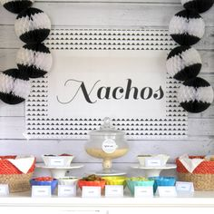 nacho bar- the perfect party food (but maybe switch the queso for a meat sauce)