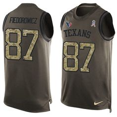 Nike Texans #87 C.J. Fiedorowicz Green Men's Stitched NFL Limited Salute To…
