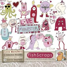 Valentine Monsters - Love Clip Art - Doodles- Digital Graphics product from FishScraps on TeachersNotebook.com