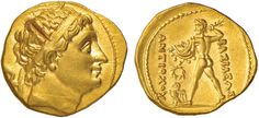 NumisBids: Nomisma Spa Auction 50, Lot 11 : BACTRIA Diodoto I (256-239 a.C.) Statere in oro a nome di Antioco II...