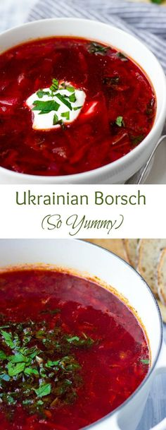 Looking for hearty soup recipes? This is the BEST Borscht recipe. Loaded with vegetables and flavor this classic Easy Ukrainian Borscht is a timeless comfort food. Russia, which has come together for centuries with the intera Hearty Soup Recipes, Vegetarian Recipes, Cooking Recipes, Healthy Recipes, Best Soup Recipes, Party Recipes, Healthy Soup, Cooking Ideas, Healthy Eating