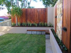 Inner city Brisbane courtyard surrounded by Merbau decking screens, drystone feature wall and raised rendered retaining walls that house a large Aloe Barbarae, mother in laws tongue varieties as well as sweet smother full shade turf. EcoBuilt Landscaping Brisbane