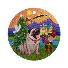 Pug Christmas Fantasy Ornament