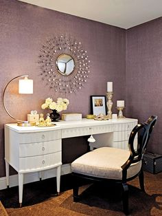 Dressing and makeup areas are often designed as extensions of the master bath. Snuggled into a corner of the bedroom, this traditional desk-turned-vanity includes plenty of space to get ready and store items - hearty-home.com