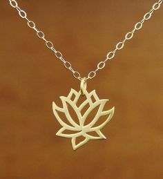 Lotus Pendant Necklace in Gold Vermeil, bridesmaid gift, wedding necklace via Etsy