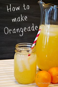 Do you love lemonade? Then you'll probably love Orangeade, too! Come see how easy it is to make! from The TipToe Fairy If you want to make some good comfort food click the picture to see an amazing cookbook. Orange Drinks, Fruit Drinks, Non Alcoholic Drinks, Healthy Drinks, Beverages, Alcholic Drinks, Wine Cocktails, Drinks Alcohol, Fruit Juice
