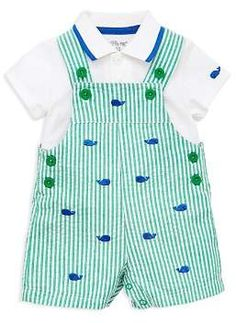 Little Me Cotton Polo Shirt & Whales Shortall Set, Baby Boys months) - Green 24 months Baby Outfits, Toddler Outfits, Kids Outfits, Baby Set, Cheap Kids Clothes, Kids Clothing, Summer Clothes, Whale Shirt, Baby Online