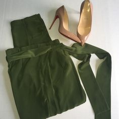 Olive green pants Super cute green pants• size 5• fit a little above waist & includes a scarf belt (optional) zipper on left side. Pants