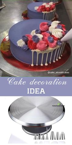 Use piping tips for beautiful cake decoration Cake Decorating Frosting, Cake Decorating Designs, Creative Cake Decorating, Cake Decorating For Beginners, Cake Decorating Videos, Cake Decorating Techniques, Creative Cakes, Cookie Decorating, Cake Piping Techniques