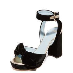 Frances Valentine Tilda Platform Sandals ($475) ❤ liked on Polyvore featuring shoes, sandals, black, black bow sandals, black velvet sandals, chunky-heel sandals, chunky platform shoes and platform shoes