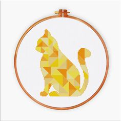 Geometric Cat cross stitch pattern Modern triangle by ThuHaDesign