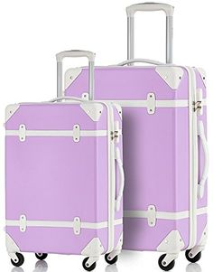 Merax Travelhouse 2 Piece ABS Luggage Set Vintage Suitcase LavenderWhite * Check out this great product.