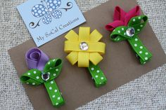 Spring Flower Ribbon Sculpture Hair Clip by MySoCalCreations, $8.00