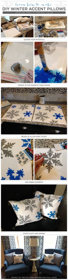 Cutting Edge Stencils shares how to create DIY accent pillows using the Snowflakes Paint-A-Pillow kit. http://paintapillow.com/index.php/snowflakes-paint-a-pillow-kit.html