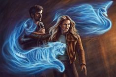 Captain Swan using the patronus charm… Harry Potter inspired AU!<br/> <br/> captain swan, once upon a time, fairytales, fantasy...