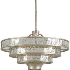 Currey and Company Frappe Silver Granello Raj Mirror Chandelier