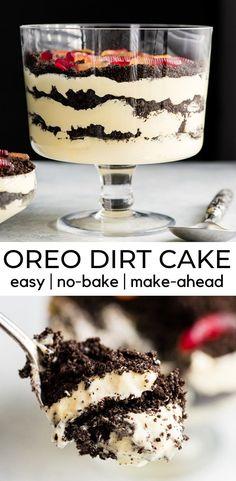 Best Oreo Dirt Cake Recipe (Dirt Pudding) - This Easy Dirt Cake Recipe (Oreo Dirt Pudding) is one of our favorite no-bake desserts! Crushed Ore -The Best Oreo Dirt Cake Recipe (Dirt Pudding) - This Easy Dirt Cake Recipe (Oreo Dirt Pu. Dessert Oreo, Dessert Sans Gluten, Köstliche Desserts, Delicious Desserts, Layered Pudding Desserts, Vanilla Pudding Desserts, Dessert For Bbq, Desserts Faciles, Dirt Cake Recipes