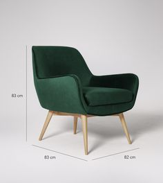 Armchair, mid century style in Forest Green