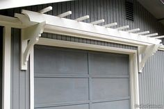 Completed garage door white trellis project at home great for Fypon pvc trellis system