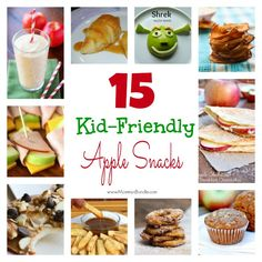 A roundup of kid-friendly apple snacks from apple chips and apple muffins, to apple fries and energy bars. Great apple snacks for picky-eaters! This would be a great list to keep in mind for a wrap up party! Lunch Snacks, Easy Snacks, Yummy Snacks, Clean Eating Snacks, Healthy Snacks, School Snacks, School Lunch, Lunches, Apple Recipes For Kids