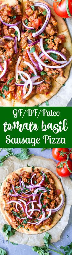 This hearty Paleo pizza has a thin, crisp and chewy crust with a sausage and fresh tomato basil topping that you can make spicy or mild to suit your tastes. The perfect filling and healthy pizza to make when a craving hits! Perfect 30 minute dinner for pizza night! Gluten free, dairy free, grain free, Paleo.