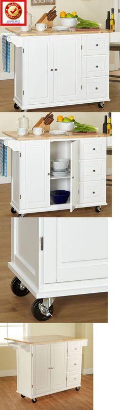Kitchen Islands Kitchen Carts 115753: Rolling Utility Cart Wood Top Storage Organizer - Cabinet Kitchen Island W Leaf -> BUY IT NOW ONLY: $291.91 on eBay!