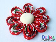 Flor de tecido feita com viés passo a passo - Drika Artesanato