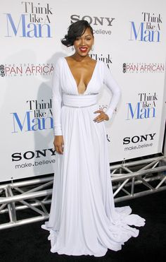 "Meagan Good made her way onto the carpet For ""Think Like A Man"" Hollywood Premiere in an eye popping white gown cut to show her fave assets."