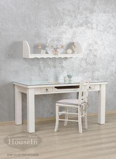 שולחן מחשב מעץ מלא דגם קינמון בלבן - האוס אין HouseIn