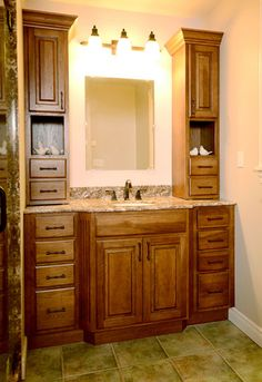 This Bathroom Vanity Featuring Symmetrical Wall Cabinets Was Created With Fieldstone Cabinetry