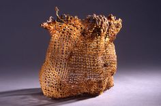 Urban fabric, texture, distortion, structure. (Fiber sculpture -- knitted flax paper)