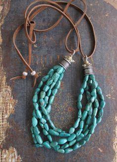 Turquoise multi strand necklace  On the Rocks  green von slashKnots