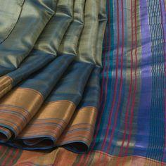 Rema Kumar Handwoven Nandor Green Tussar Twill Silk Saree with Zari Border 10001689 - AVISHYA
