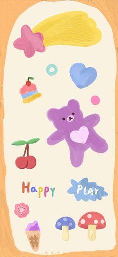 微博 Soft Wallpaper, Rainbow Art, Aesthetic Backgrounds, Cute Bears, Cute Illustration, Doodles, Kawaii, Kids Rugs, Layout