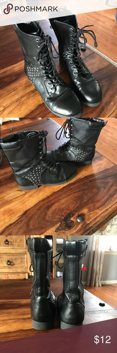Combat boots Black size 8 combat boots by Pink & Pepper.  They are not leather but they are in excellent condition. Great heels and soles and only one stud is missing from low part of shoe.  Not noticeable. See picture.  One scuff mark but it covers with black shoe polish. Scuff considered in pricing. Pink & Pepper Shoes Combat & Moto Boots
